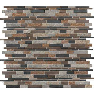 Cobrello Interlocking 12 in. x 12 in. x 8 mm Porcelain and Stone Mesh-Mounted Mosaic Floor and Wall Tile (1 sq. ft.)