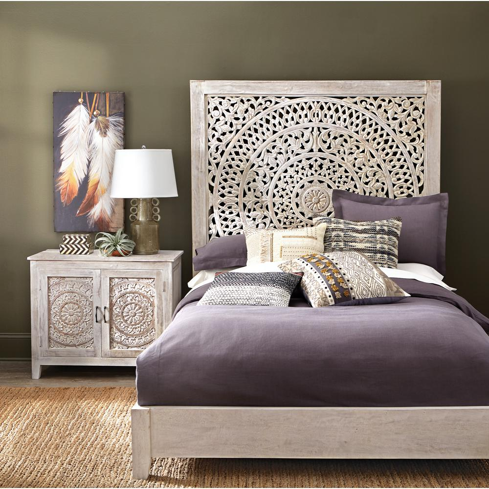 Home Decorators Collection Chennai White Wash Queen Platform Bed 9467800410 The Home Depot