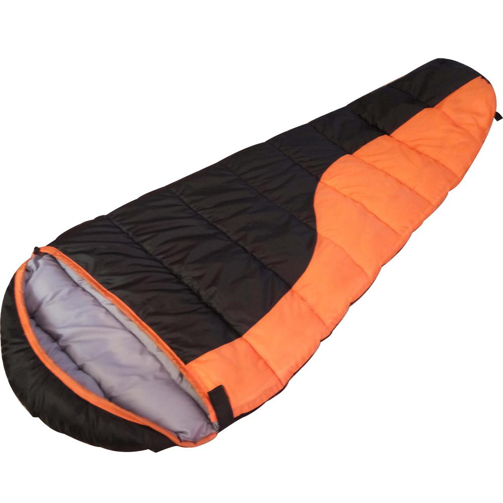 Proht Cool Weather Envelope Mummy Sleeping Bag With Hood In Orange 04053 The Home Depot