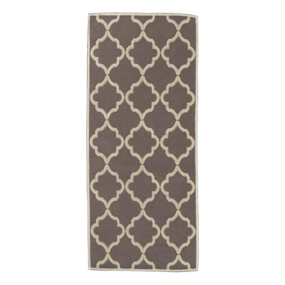 Nature Cotton Kilim Collection Brown Trellis Design 2 ft. 7 in. x 6 ft. Runner Rug