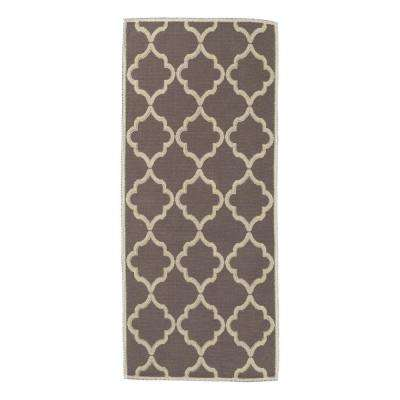 Nature Cotton Kilim Collection Brown Trellis Design 3 ft. x 6 ft. Runner Rug
