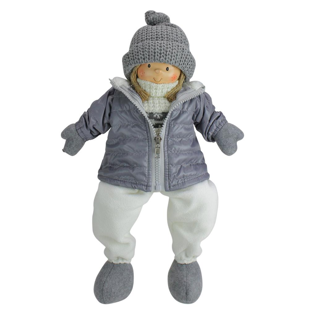 16 in. Gray and White Cheerful Sitting Girl Christmas Tabletop Decoration