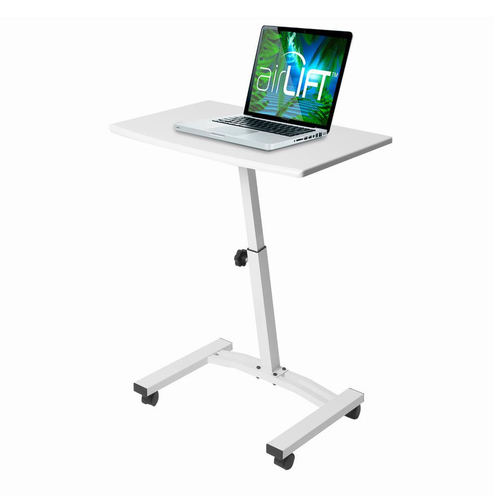 24 in. Rectangular White Laptop Desks with Adjustable Height