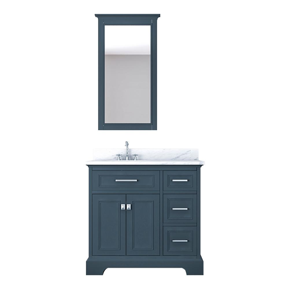 Design Element Laxton 37 in. W x 22 in. D Bath Vanity in Gray with Marble Vanity Top in White with White Basin and Mirror
