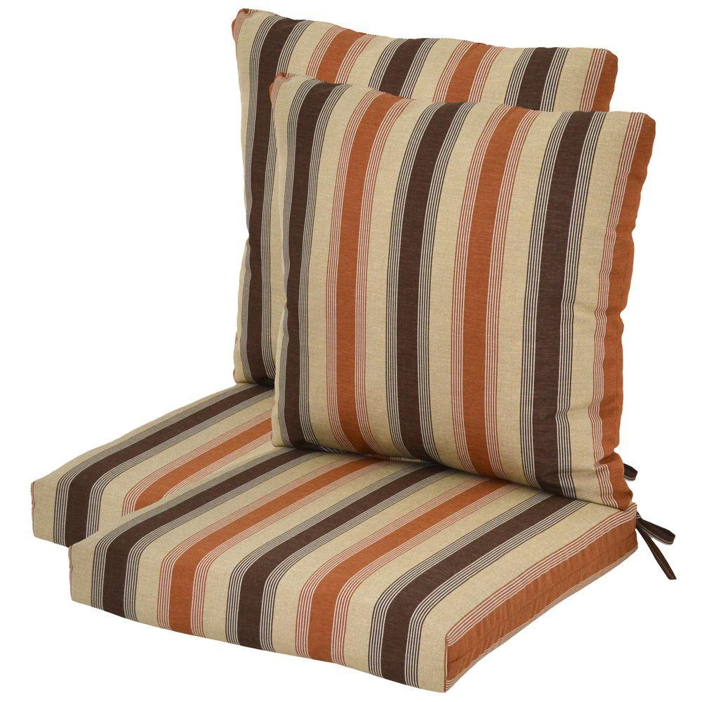 Plantation Patterns Nutmeg Stripe Pillow Back Outdoor Deep Seating Cushion (2-Pack)-DISCONTINUED