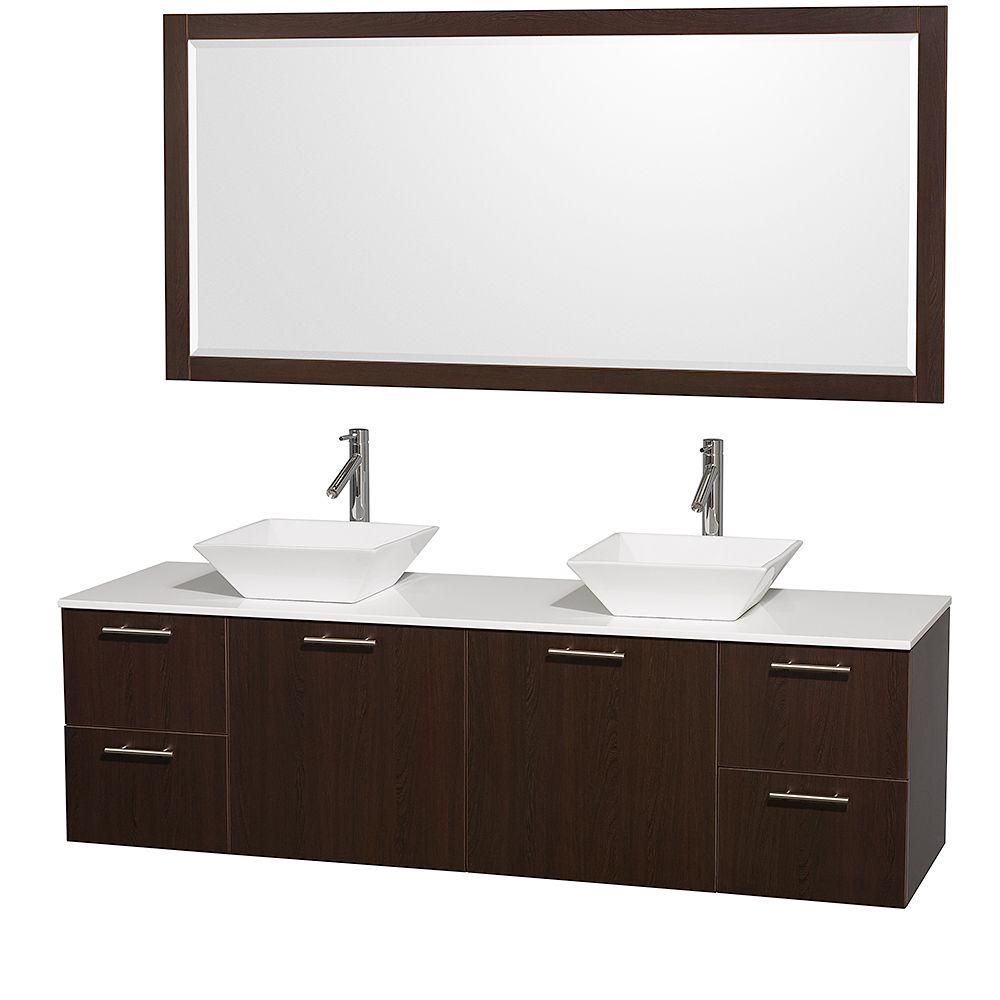 Amare 72 in. Double Vanity in Espresso with Man Made Stone