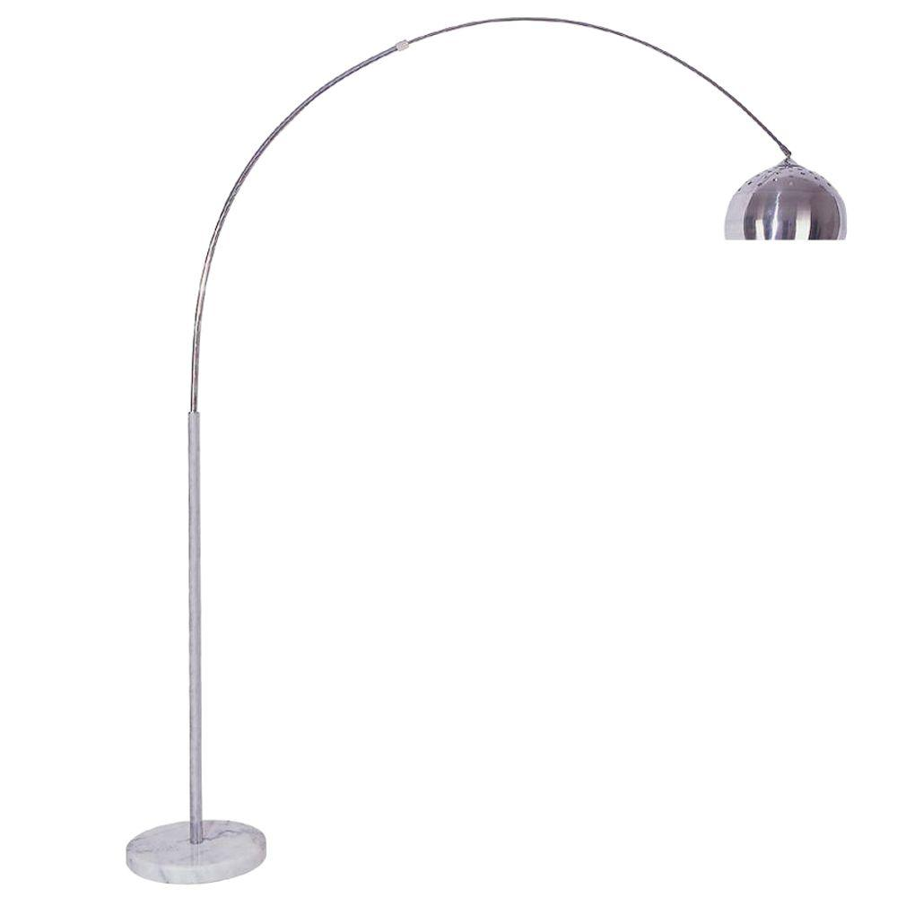 ORE International 85 in. Arch Marble Base Silver Floor Lamp