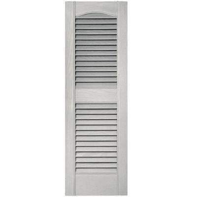 12 in. x 36 in. Louvered Vinyl Exterior Shutters Pair in #030 Paintable