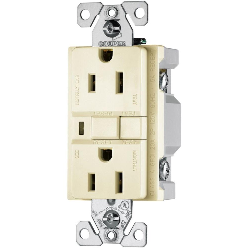 Eaton 15 Amp 2-Pole 3-Wire 125-Volt Duplex Ground Fault Circuit Interrupter - Light Almond