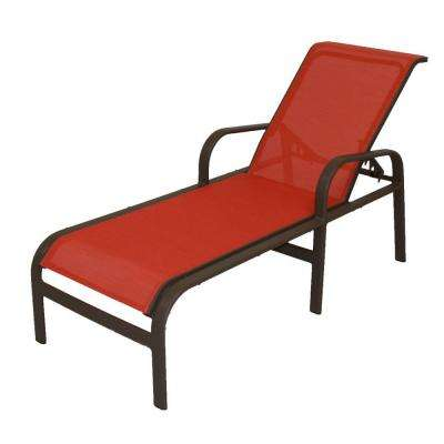 Marco Island Dark Cafe Brown Commercial Grade Aluminum Outdoor Patio Chaise Lounge with Metallica Salsa Sling