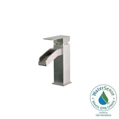 Single Hole Single-Handle Mid-Arc Bathroom Faucet in Stainless Steel