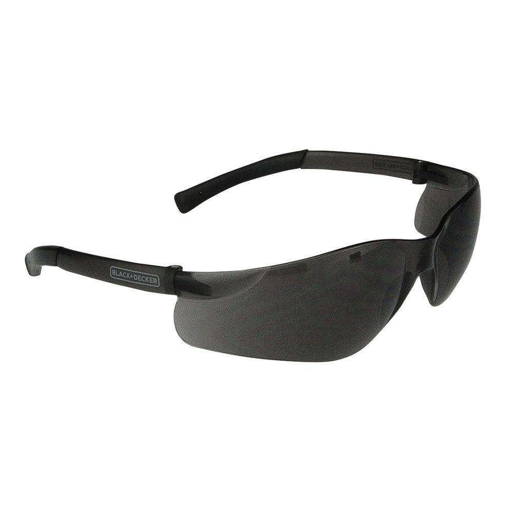 BLACK+DECKER Smoke Lens and Temples Small Frameless Safety Glasses The BLACK+DECKER BD260 safety eyewear are lightweight frameless safety glasses. These glasses are sized small making them great for women and youth. Rubber temple tips provide a secure comfortable fit.