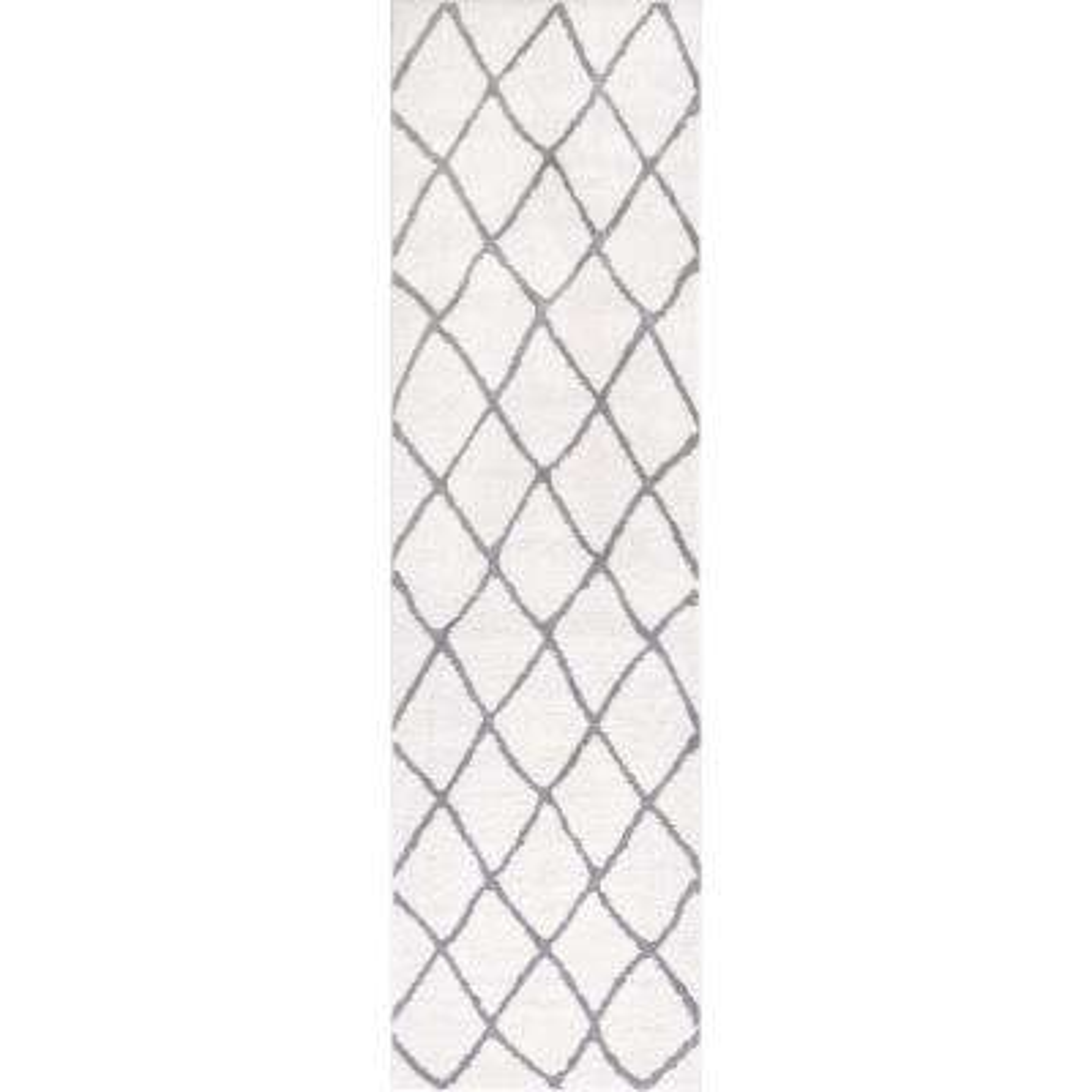 Kasper Walton 2 ft. 3 in. x 7 ft. 3 in. Modern Moroccan Trellis White Runner Rug
