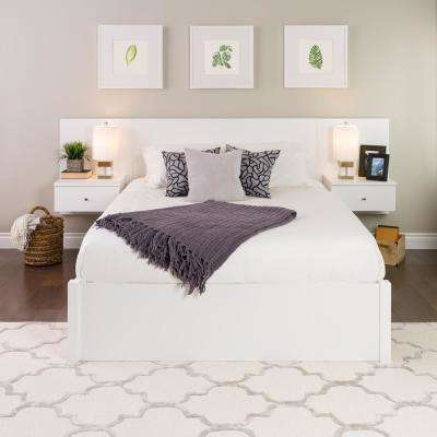 White Floating Queen Headboard with Nightstands