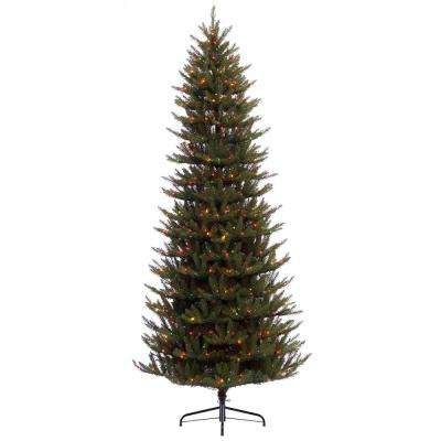 9 ft. Pre-Lit Incandescent Slim Fraser Fir Artificial Christmas Tree with 800 UL Multi Lights