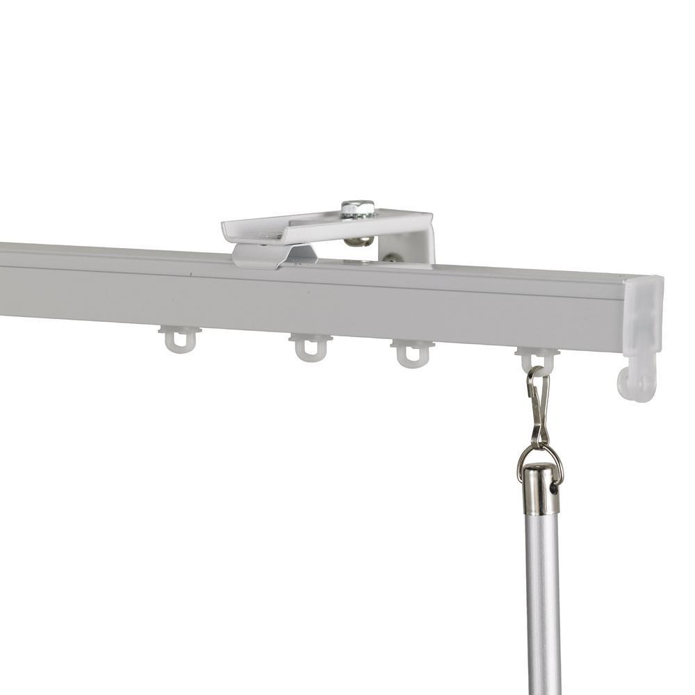 Euroscope 120 in. Non-Adjustable Single Traverse Window Curtain Rod Set in White