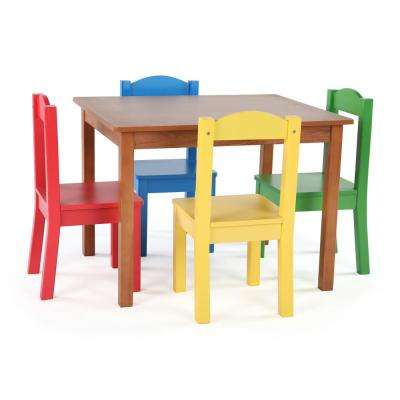 Highlight 5-Piece Natural/Primary Kids Table and Chair Set