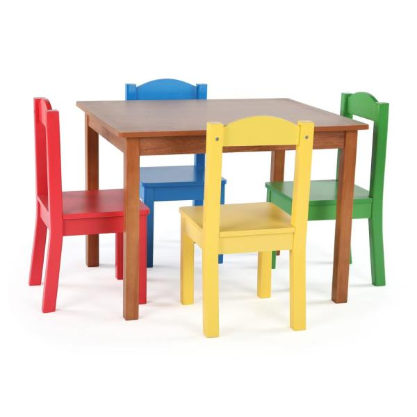 Highlight 5 Piece Natural Primary Kids Table And Chair Set
