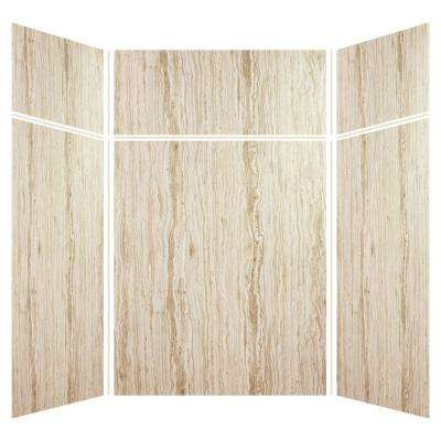 Expressions 60 in. x 60 in. x 96 in. 4-Piece Easy Up Adhesive Alcove Shower Wall Surround in Sorento