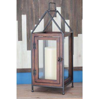 Contemporary 21 in. Cuboid Wood and Glass Candle Lantern