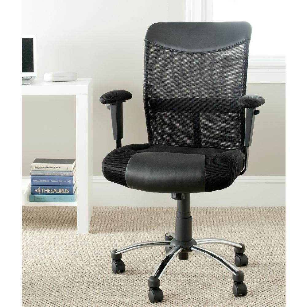 Home Depot Office Chairs: Safavieh Bernard Black Office Chair-FOX8508A