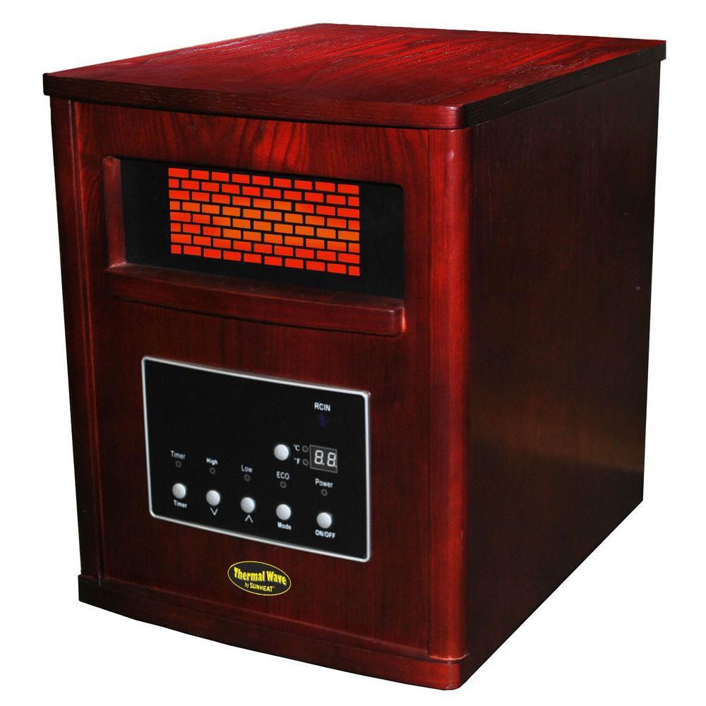 1500-Watt 4 Element Medium Room Infrared Heater with Remote - Cherry Cabinet