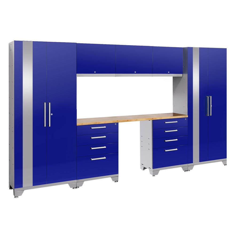 Performance 2.0 72 in. H x 132 in. W x 18 in. D Garage Cabinet Set in Blue (8-Piece)