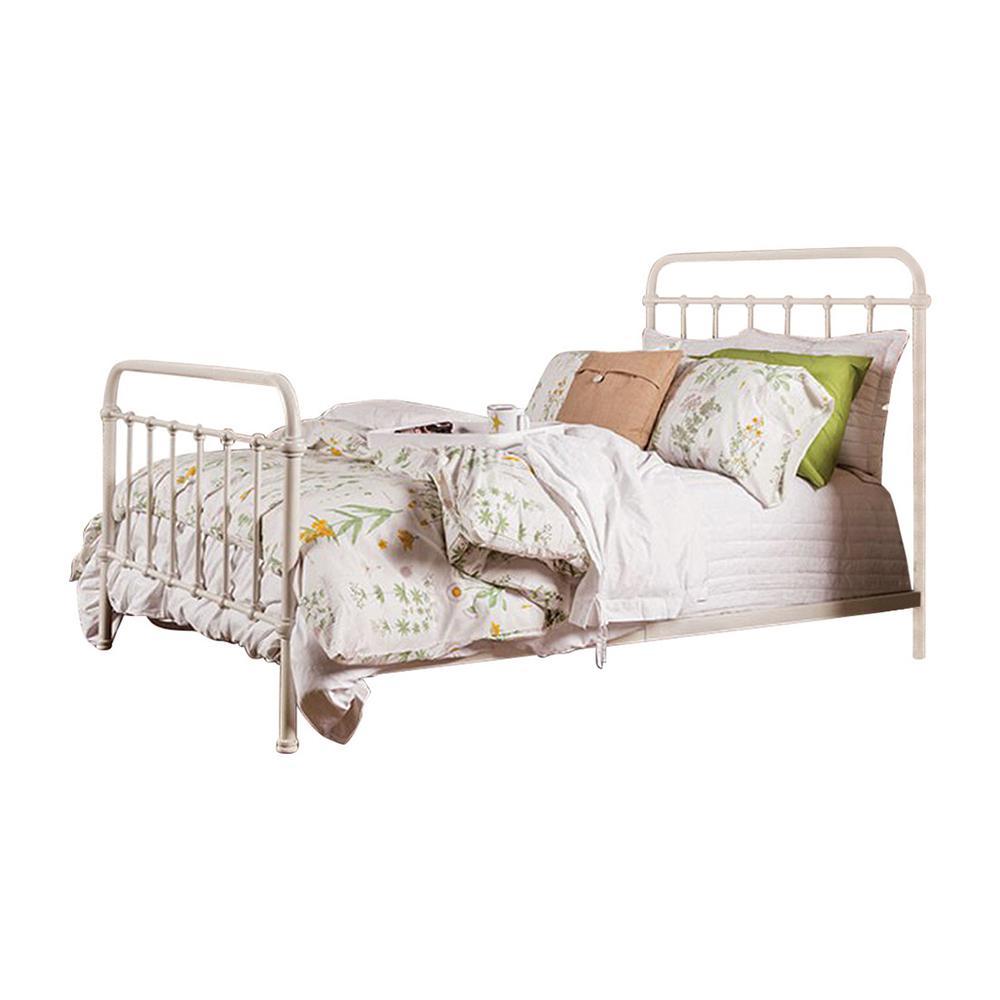 82.25 in. L x 58.5 in. W x 51.5 in. H Modern White Full Size Metal Bed