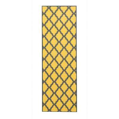 Studio Collection Moroccan Trellis Design Yellow 2 ft. x 5 ft. Non-Skid Runner Rug