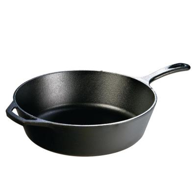12 in. Cast Iron Deep Skillet in Black