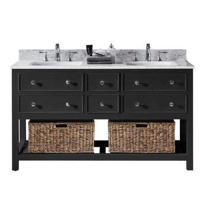 Elodie 60 in. W x 22 in. D x 34.21 in. H Bath Vanity in Espresso with Marble Vanity Top in White with White Basins