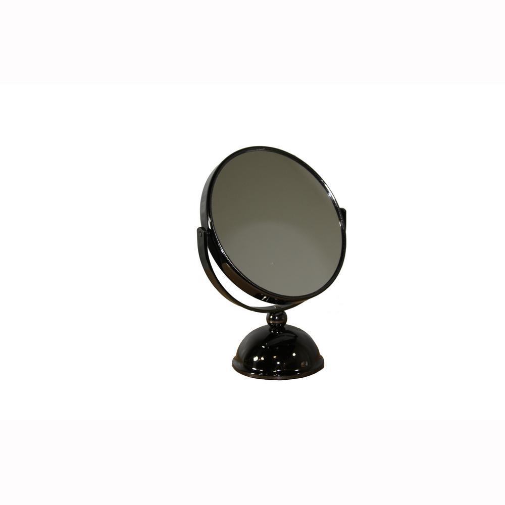 ORE International 8.5 in. Black Chrome 7x Magnify Makeup Mirror