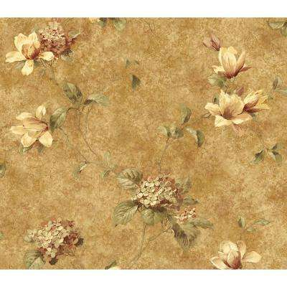 Hydrangea Brown Trail Wallpaper Sample