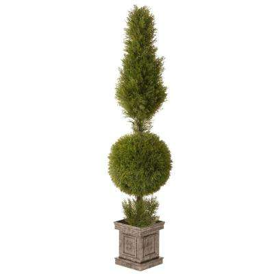 60 in. Juniper Cone and Ball Topiary with Square Pot