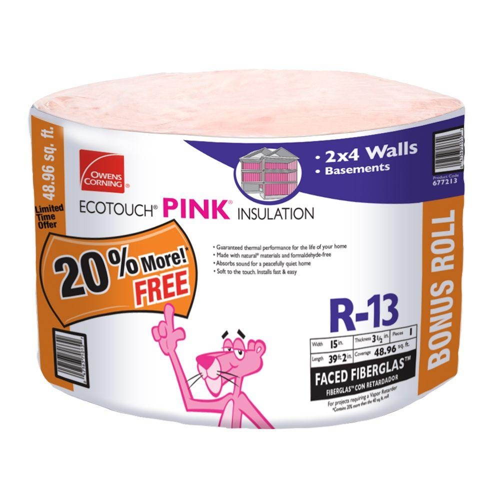 R-13 Pink EcoTouch Kraft Faced Fiberglass Bonus Roll 15 in. x