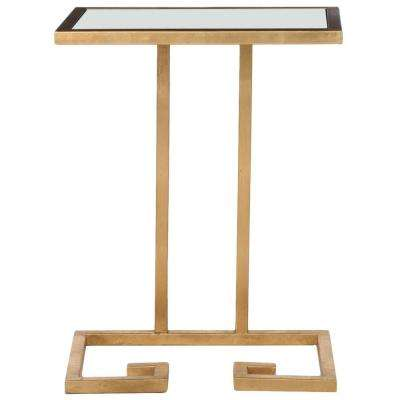 Murphy Gold and White Glass Top End Table