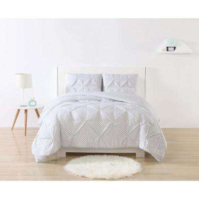 Anytime Dot Pinch Pleat Grey Full/Queen Comforter Set with 2-Shams