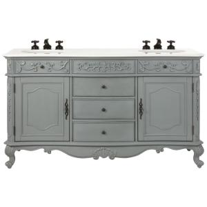 Home Decorators Collection Winslow 60 In W Double Bath Vanity In Antique Grey With Marble