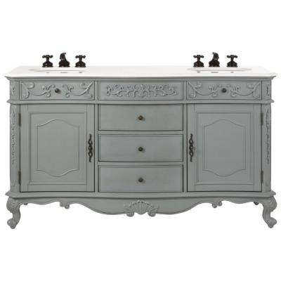 Winslow 60 in. W Double Bath Vanity in Antique Grey with Marble Vanity Top in White