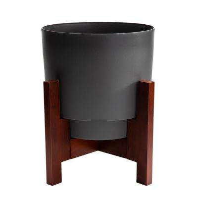 Hopson Medium 10 in. Charcoal Gray Planter with Wood Stand