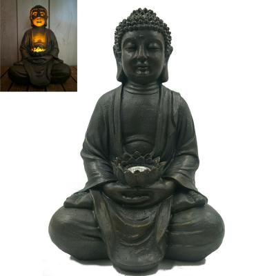 1-Light 16 in. Integrated LED Solar Powered Zen Buddha Decor Statue with Lotus Flower
