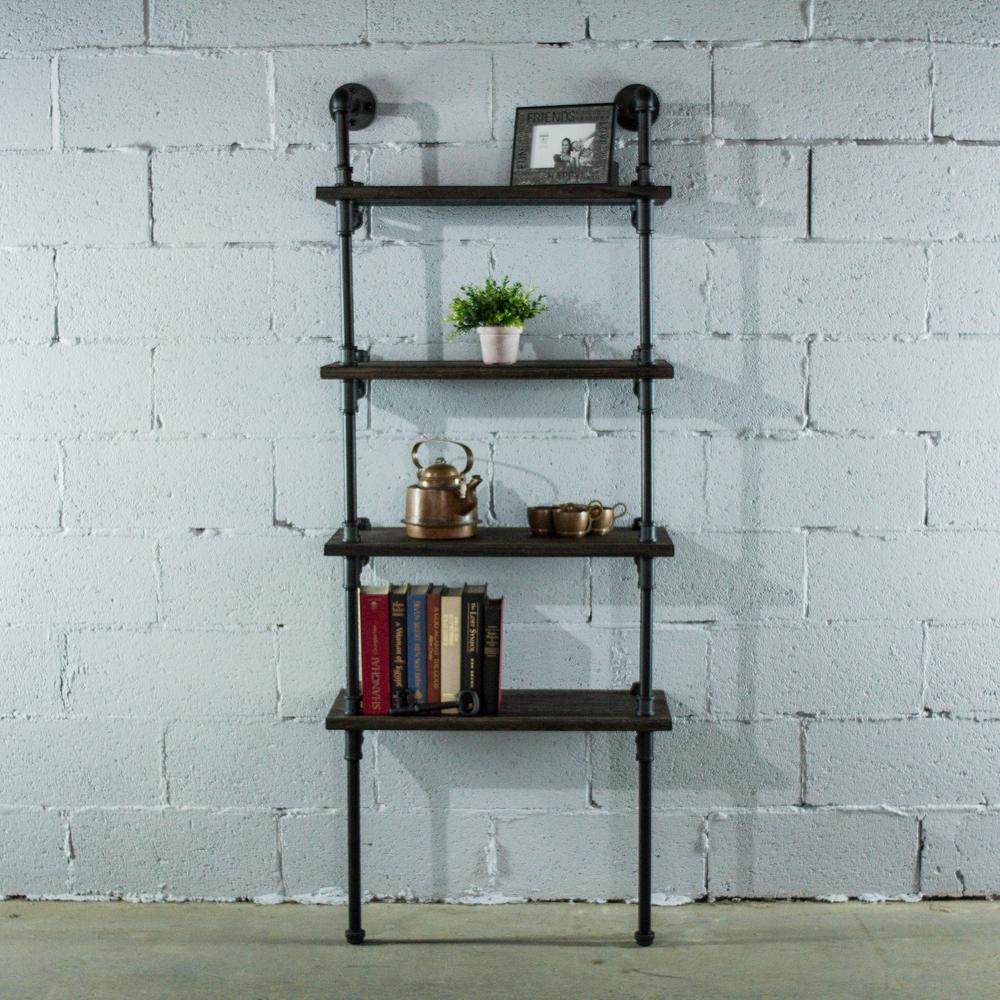 Sacramento Industrial Farmhouse, Black 67 in. Wall 4-Shelf Etagere Pipe Bookcase Display-Metal-Reclaimed Wood