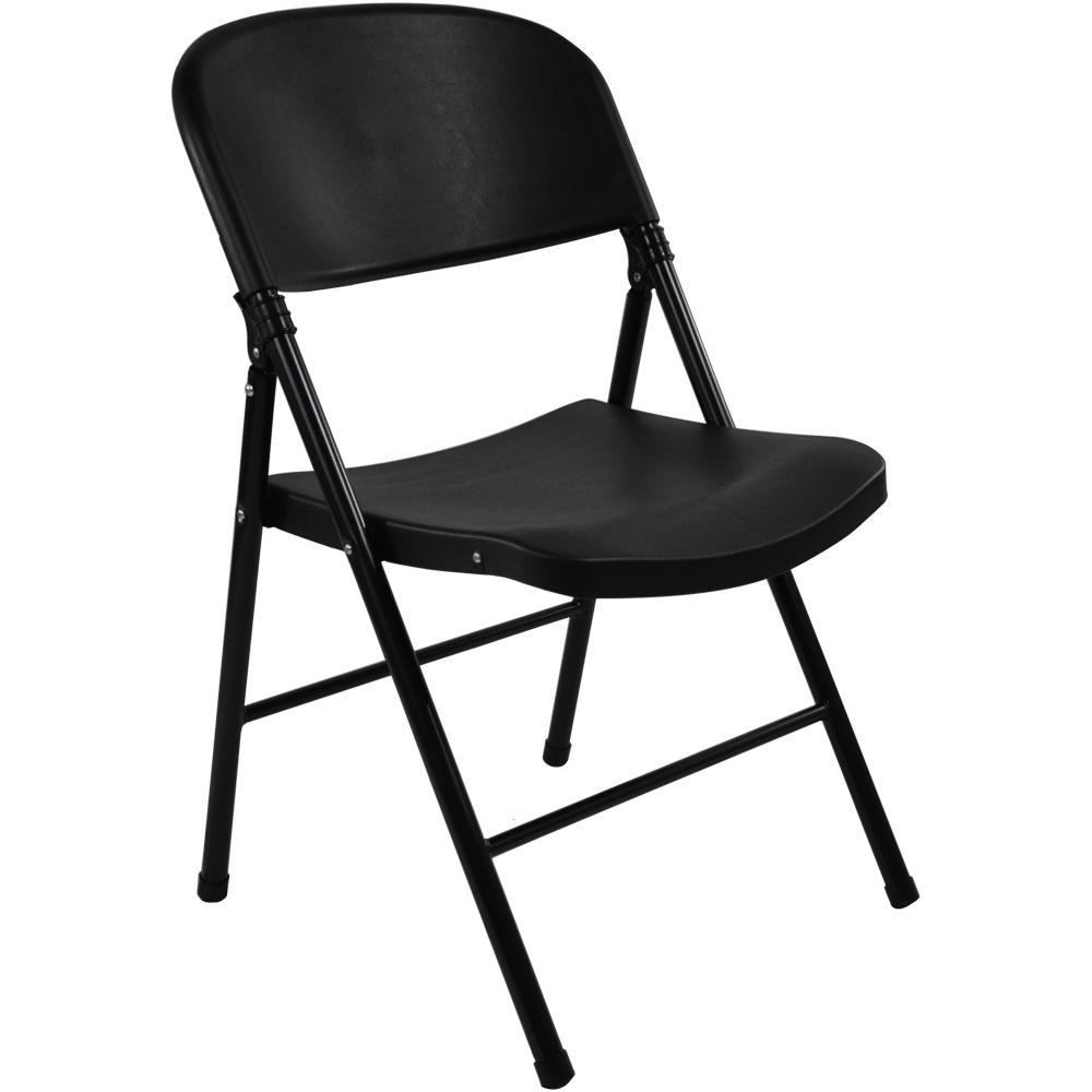 Advantage Black Poly Oversized Folding Chair