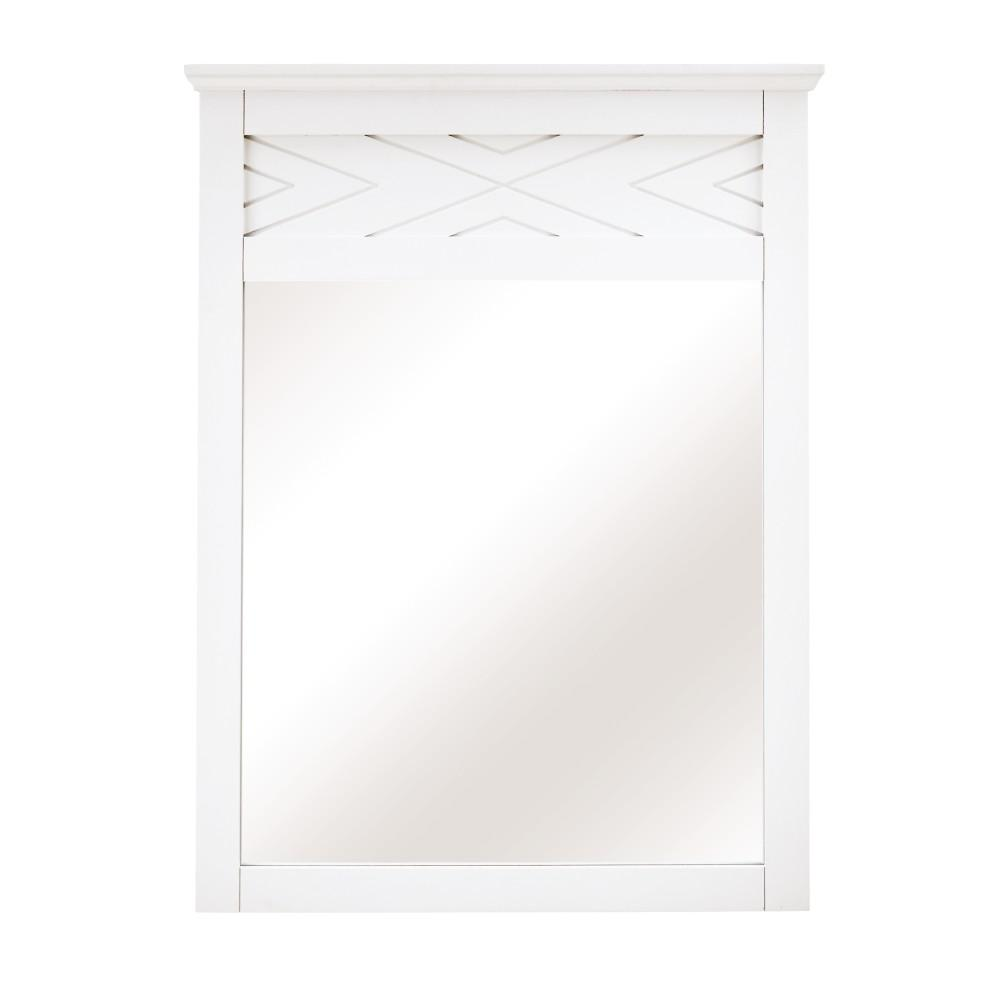Home Decorators Collection Clemente 33 in. H x 60 in. W Framed Wall Mirror in White