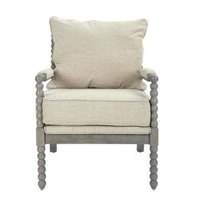 Abbot Linen Fabric Chair with Brushed Grey Base