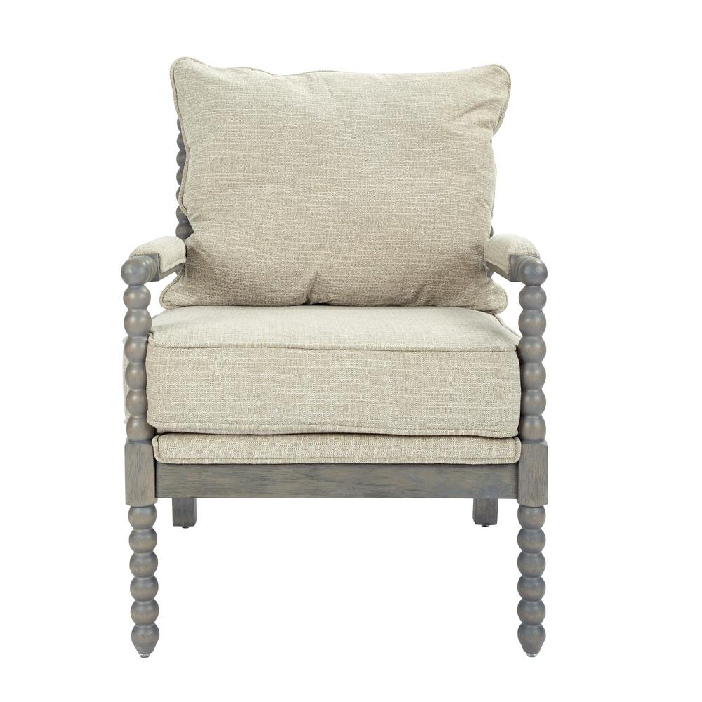OSP Home Furnishings Abbot Linen Fabric Chair with Brushed Grey Base, Linen Polyester The Abbot Chair transforms the living room with a chic farmhouse design. The chair is characterized by its turned spindle detailing, padded armrests, and distressed wire brush finish. Blending a hardwood frame with a reversible plush seat, the Abbot is perfect for those cozy moments at home. Color: Linen Polyester.