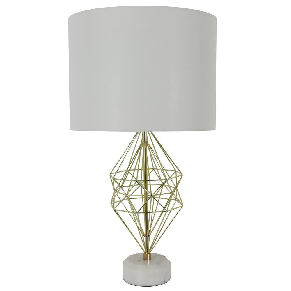 Decor Therapy Geordi 31 in. Gold Marble Table Lamp with Shade