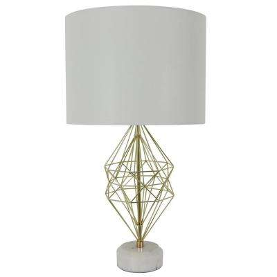 Geordi 31 in. Gold Marble Table Lamp with Shade