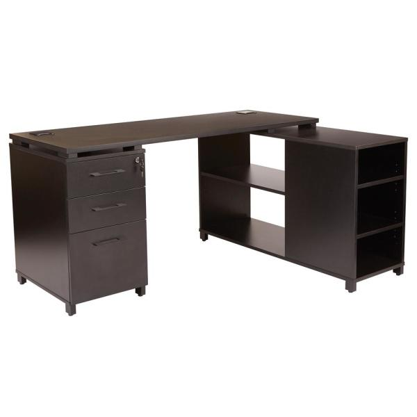 OSP Home Furnishings Prado L-Shape Office Group with Storage in Black