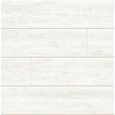 Off-White Shiplap Peel and Stick Wallpaper